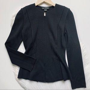 St. John   Black Knit Zip Up Jacket sz 2